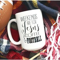Fall Mugs Any Color Weekends Are for Jesus Coffee and Football Weekend... ($17) ❤ liked on Polyvore featuring home, kitchen & dining, drinkware, grey, home & living, personalized ceramic mugs, quote mugs, quote coffee mugs, mom mug and personalized mugs