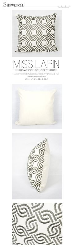 MISS LAPIN/新古典/样板房/家居软装//靠包抱枕/几何图案绣花方枕/布艺-淘宝网