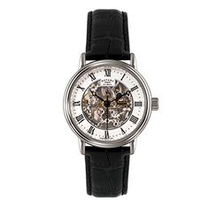 Rotary Men's Automatic Watch with White Dial Analogue Display and Black Leather Strap GS00308/21