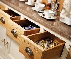 Personalised drawers for coffee lovers. These can be personalised for whatever you like, from pasta to vegetables.