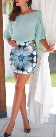 Awesome summer look - blue chiffon blouse and geometric print skirt.