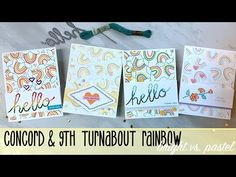 Episode One of my May Stamp Set of the Month series is here! This month I am featuring the Rainbow Turnabout Stamp by Conord & In this episode its Brigh. I Love Simon, Concord And 9th, Red Sunset, Rock Collection, Silent Night, Happy Heart, Simon Says Stamp, About Me Blog, Pastel