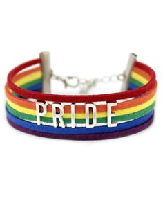 Wear your PRIDE colors on your cuff. inches in length plus in extended chain Wax/cord/leather braided rope Lgbt Bracelet, Pride Bracelet, Bracelets, Gay Outfit, Pride Outfit, Pride Shoes, Butch Fashion, Pride Colors, Pansexual Pride