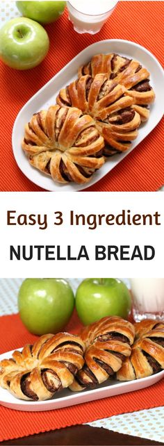 This 3 Ingredient Nutella Striped Bread recipe is super easy to and fun to make. - This 3 Ingredient Nutella Striped Bread recipe is super easy to and fun to make. They are versatile - Diet Snacks, Vegan Snacks, Snack Recipes, Cooking Recipes, Healthy Recipes, Easy Recipes, Dessert Recipes, Braided Nutella Bread, Nutella Recipes