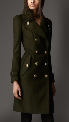 Burberry - Leather Detail Wool Cashmere Coat