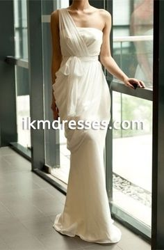 Fashion One Shoulder Side Drapping White Mermaid Long Evening Dress Elegant Formal Dress Women Party Gowns