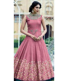 Designing Pink Silk Designer Gown.