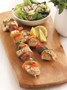 Lemon and Basil Chicken-Veggie Kebabs | Entrees | @Chris Cote Freytag- Health & Fitness Expert