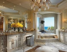 A fancy bathroom designed by Marc-Michaels Interior Design features Niermann Weeks Rinaldi Chandelier & Sconces. Beach Interior Design, Bathroom Design Luxury, Bathroom Designs, Luxury Interior, Interior Decorating, Decorating Ideas, Dream Bathrooms, Beautiful Bathrooms, Luxury Bathrooms