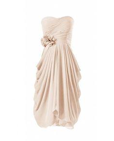 DaisyFormals Kurz Chiffon Brautjungfernkleid Herz-Ausschnitt Blumen Homecoming Kleider(BM332)- Champagne