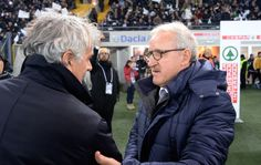 Head coach of Bologna FC  Roberto Donadoni (L) shakes hands with head coach  of Udinese Luigi Del Neri before the Serie A match between Udinese Calcio and Bologna FC at Stadio Friuli on December 5, 2016 in Udine, Italy.