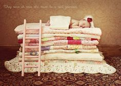 claire elise photography- princess and the pea newborn picture