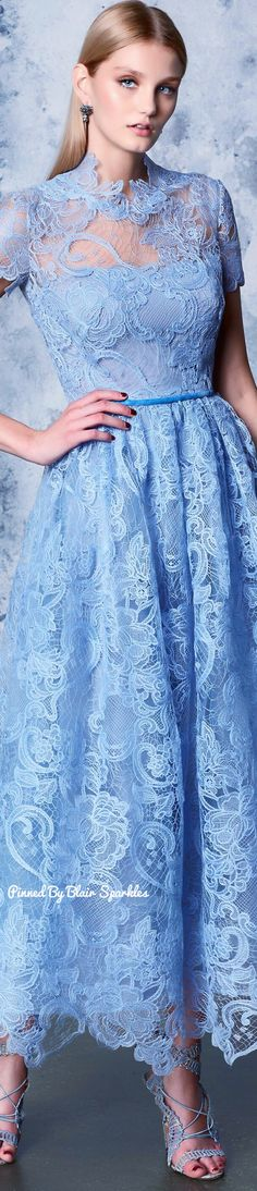 Marchesa Notte Resort 2018 ♕♚εїз | BLAIR SPARKLES | Blue Fashion, Fashion 2018, Runway Fashion, Fashion Brands, Abaya Fashion, Marchesa, Blue Dresses, Prom Dresses, Himmelblau