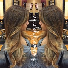 Hair by Cynthia - Encino, CA, United States. This is a balayage ombré highlight on golden brown hair that has face framing