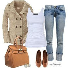 smaller bag and different sweater - good basic rolled jeans, white tank, tan flats