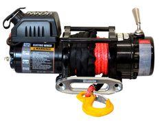 Treuil Electrique Warrior NINJA 2041 kg 12v corde synthétique   ✓ ref: 450EA12   Treuil NINJA Warrior2041 kg 12v avec commande filaire, platine de montage, écubier aluminium et corde synthétique diamètre 6 mm longueur 15 m Radio commande en option   ☞ - 0%