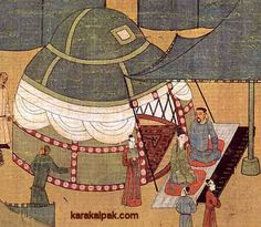 "A Khitan royal yurt depicted in ""The Story of Lady Wen-chi"".  From a handscroll painting on silk copied from an earlier 12th century depiction."