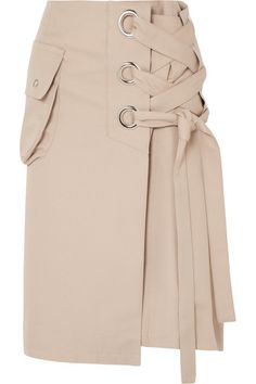 Sacai | Lace-up cotton-twill skirt | NET-A-PORTER.COM