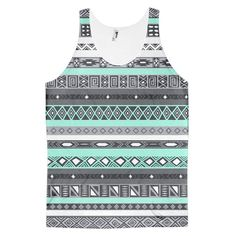 Turquoise Mint Boho Aztec Pattern Full Print Unisex Tank Top