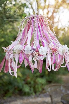 An Afternoon Creating In The Studio…Ribbon Work Chandelier Ribbon Chandelier. Would be so cute in a little girls room! Shabby Chic Buffet, Shabby Chic Decor, Shabby Chic Lighting, Shabby Chic Lamp Shades, Shabby Chic Style, Diy Ombre, Ribbon Chandelier, Chandelier Ideas, Lampshade Chandelier
