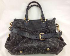 Auth LOUIS VUITTON Monogram Denim Neo Cabby MM Shoulder Bag Handbag Black EXC #LouisVuitton #Handbag