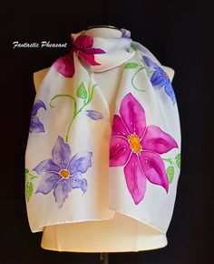 Hand painted silk scarf beautiful clematis by FantasticPheasant