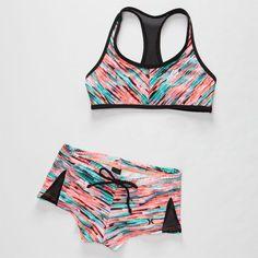 Hurley Static Girls Crop/Boyshort Bikini Set Multi  In Sizes from Tilly's