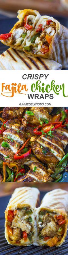 Crispy Fajita Chicken Wraps   Gimme Delicious