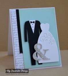 The Bride & Groom Die-namics will create layered, dimensional, graphic representations of the happy couple. The bride includes a classic dress silhouette and optional flourish detail, while the groom includes a suit and shirt with emboss lines as well as a separate bow tie. | eBay!