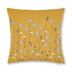 Scandi Floral Ochre Cushion | Dunelm Floral Cushions, Embroidered Cushions, Grey Cushions, Living Room Colors, Living Room Grey, Cushions For Sale, Beautiful Living Rooms, Pillow Sale, Bedrooms