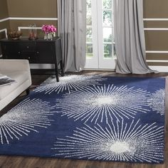 Shop for Safavieh Handmade Soho Burst Dark Blue/ Ivory Wool Rug (6' x 9'). Get free shipping at Overstock.com - Your Online Home Decor Outlet Store! Get 5% in rewards with Club O!