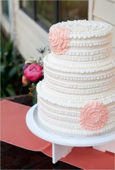 Simple ruffle wedding cake