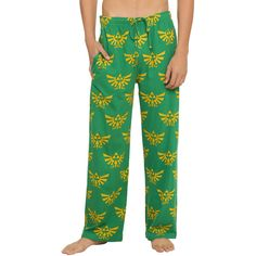 Nintendo The Legend Of Zelda Triforce Guys Pajama Pants ($16) ❤ liked on Polyvore featuring men's fashion, men's clothing, men's sleepwear and black