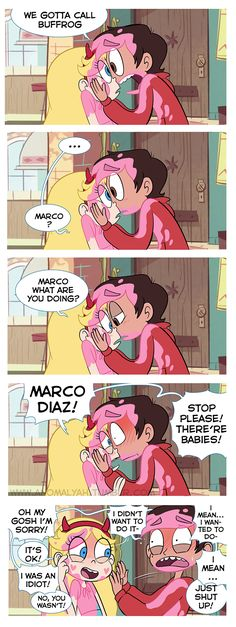 Starco babysitting comic Marco there are babies Cute Comics, Funny Comics, Star E Marco, Starco Comic, Bd Art, Moba Legends, Disney Xd, Couple Cartoon, Star Butterfly