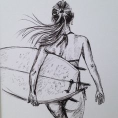 Mounted signed print of biro sketch surfer girl surf art surfgirl illustration – Kalender Eigenart Bullet Journal Zeichnung Malen Inspiration Tattoo painting art - SURFING Surf Drawing, Beach Drawing, Ocean Drawing, Beach Sketches, Art Sketches, Biro Drawing Sketches, Sketches Of People, Manga Drawing, Drawing Tips