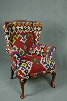 Handwoven Vintage Wool Kilim Wingback Armchair  sofa chair patchwork