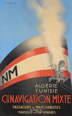 Stunning 1940s Art Deco Ocean Liner Travel Poster
