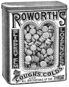 A black and white 1893 ad for Roworth Slippery Elm Lozenges (love the scrolling font on the name). #Victorian #ads #health #1800s #illustrations