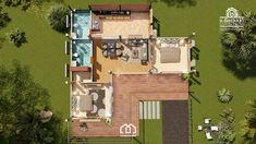 Modern, Villa-Style Single Storey House With Two Bedrooms - Ulric Home Modern Bungalow House, Modern House Plans, 2 Bedroom House Design, L Shaped House Plans, Modern Tropical House, One Storey House, House Plan With Loft, Village House Design, Rest House