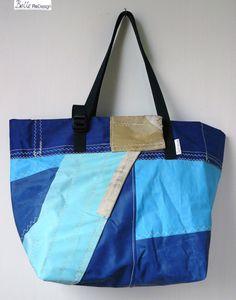 tas van surfzeil M - licht blauw donker blauw van BelleReDesign op DaWanda.com
