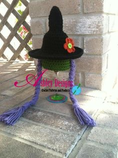 Ravelry: The Cutest Witch Hat (Newborn - 10 Years) pattern by Ashley Leither/Ashley Designs Corner Crochet Kids Scarf, Crochet Beanie, Knit Or Crochet, Cute Crochet, Crochet For Kids, Crochet Crafts, Crochet Projects, Knitted Hats, Holiday Crochet