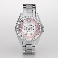 Fossil Watch. I love the pink face with the silver band. The crystal accents where the time's are. Beautiful.