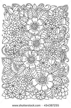 Embroidery Satin Flower Floral pattern in black and white. Doodle flowers for coloring. Spring Coloring Pages, Free Adult Coloring Pages, Flower Coloring Pages, Mandala Coloring Pages, Animal Coloring Pages, Colouring Pages, Coloring Books, Flower Doodles, Doodle Flowers