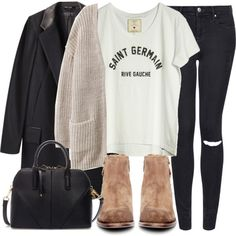 Untitled #3996 by laurenmboot on Polyvore featuring Loft Design By..., H&M, rag & bone, Topshop, H by Hudson and Zara