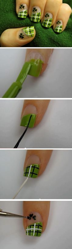 Lucky Green Plaid | 19 Easy St Patricks Day Nail Designs | Easy Nail Art for Beginners Step by Step