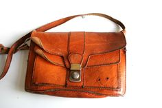 Brown Leather purse handbag German vintage.  via Etsy.