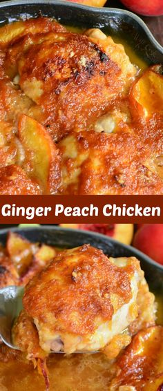 Baked Ginger Peach Chicken. These baked chicken thighs are cooked with fresh peaches, shallots, and ginger peach puree. Slightly sweet peach flavors come through subtly in this chicken dish, without overwhelming any other flavors, and pairs wonderfully with fresh ginger. #chicken #dinner #peach #recipe #ginger #rice Peach Chicken, Ginger Chicken, Baked Chicken, Peachy Chicken Recipe, Chicken Soup, Peach Recipes Dinner, Fresh Peach Recipes, Ginger Peach, Sweet Peach