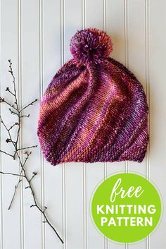Frenzy Hat Free Knitting Pattern Designed by Amy Gunderson, this colorful hat has a beautiful spiraling effect. Very interesting design! It's a rectangle knit sideways on the bias. The side seam is se