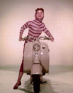 Debbie Reynolds On Vintage Vespa