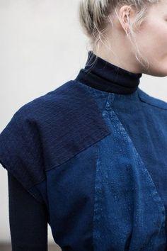 "blueberrymodern: "" Cosmic Wonder Bingo-Kasuri Dress in Indigo "" Denim Fashion, Look Fashion, Fashion Details, Fashion Design, Indigo, New Blue, Mode Style, Refashion, Diy Clothes"